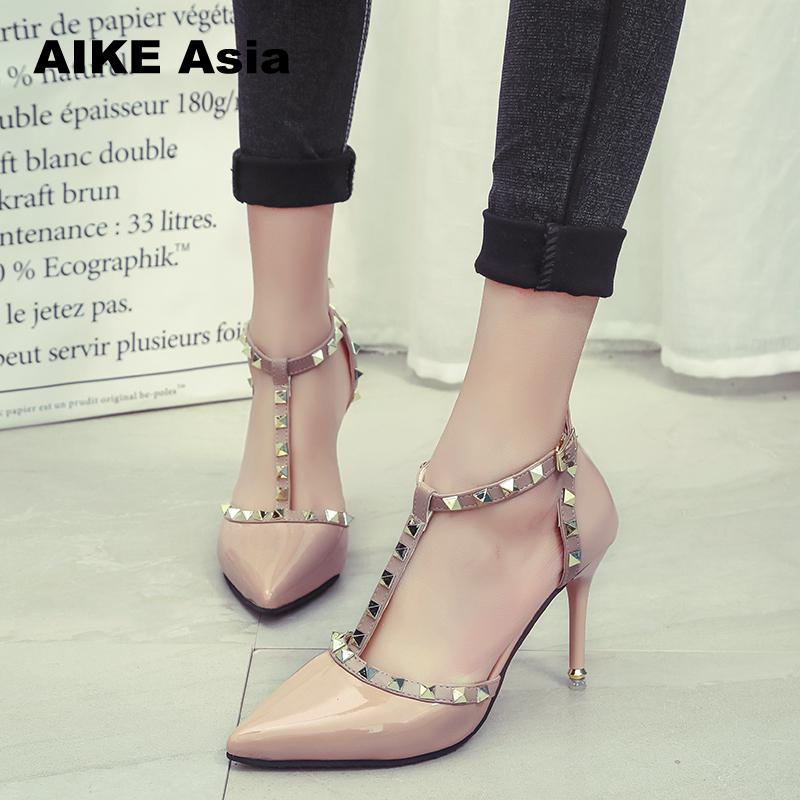 Aike Asia New Women Pumps Summer Fashion Sexy Rivets Pointed Toe Wedding Party High Heeled Shoes Woman Sandals Zapatos Mujer fashion suede leather heeled sandals pointed toe lace up women pumps spikle high heel women shoes zapatos mujer