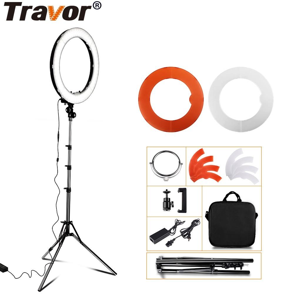 Travor 18 240PCS LED Ring Light Dimmable Bi color Annular Lamp & Tripod Studio LED Ring Photography Lighting For Camera/Photo