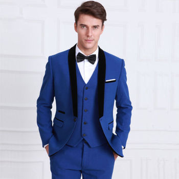 Popular Royal Blue Men Suits Blazer 2017 Hot Special Design Black Shawl Lapel Best Men Wedding/Dinner Party Wear Tuxedos 3Pieces