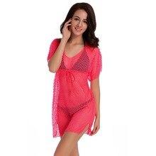 купить Women Summer Beach Mini Dress Elegant Short Sleeve V Neck Lace Net Crochet Hollow Out Solid Mesh Beach Dress Vestidos по цене 1008.45 рублей