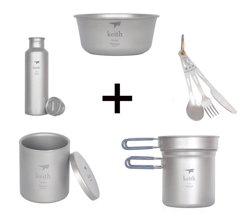 Titanium Bottle Sport Cup Outdoor Pot and pan Camping Bowl Cutlery Picnic Spoon Fork font b