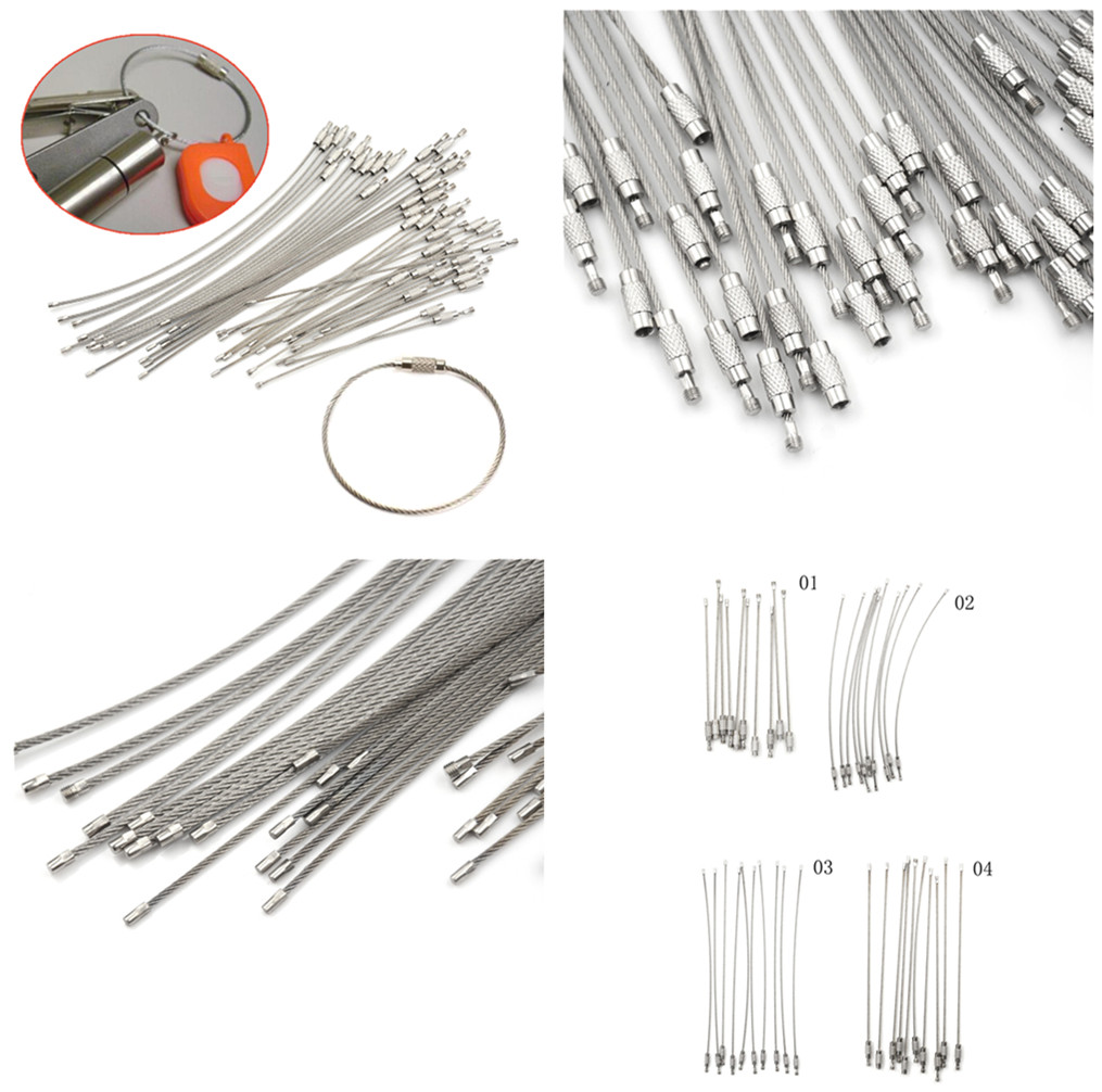 10Pcs  Screw Locking Stainless Steel Wire Keychain Cable Rope Key Holder Keyring Key Chain Rings Cable Outdoor Hiking Keychains