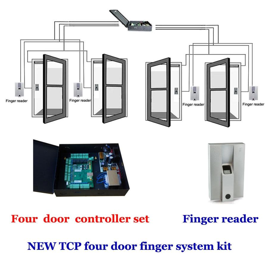 TCP четыре двери контроллер доступа Дело Power Kit. Включает четыре двери контроллер, кнопка выхода, палец Reader, сканер пальца, TFP 04