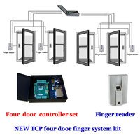 TCP four door access controller power case kit. comprises four Door controller,exit button ,Finger reader,finger scanner ,TFP 04