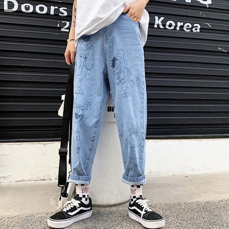 New Autumn  Jeans Women 2019 Retro Fun Cartoon Print Jeans Cotton Loose High Waist Nine Pants Harajuku Cute Anime Jeans Female