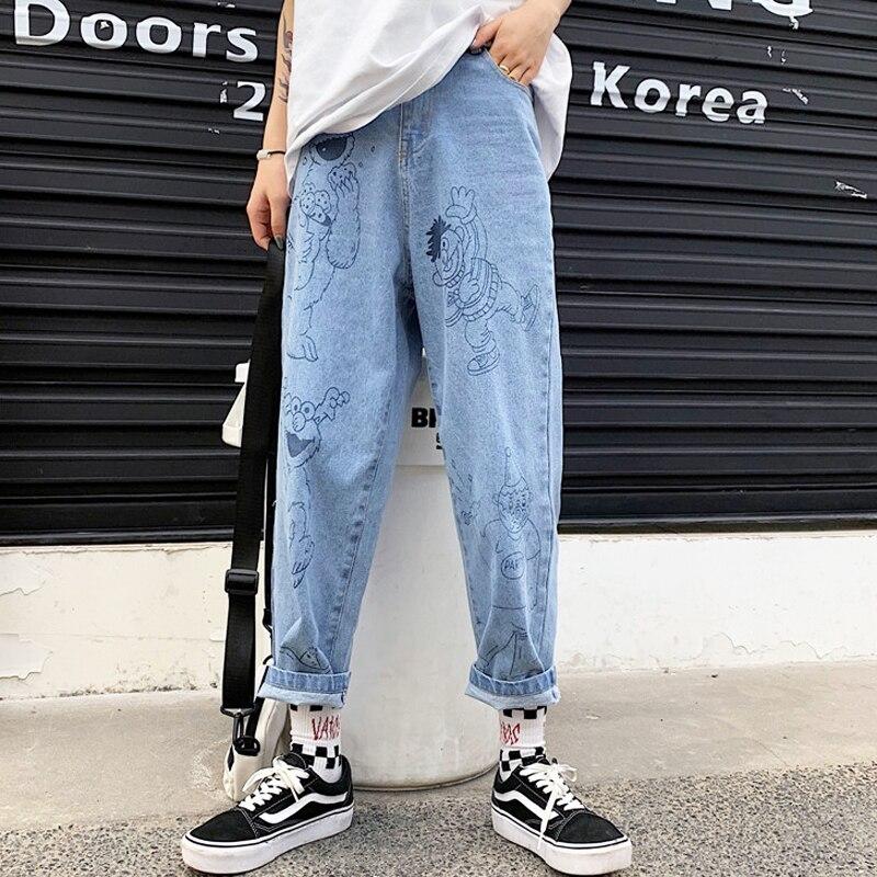 New Summer Jeans Women 2019 Retro Fun Cartoon Print Jeans Loose High Waist Nine Pants Harajuku Cute Anime Jeans Female