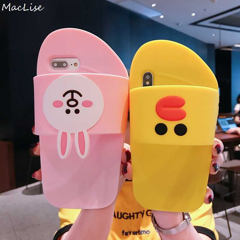 76695e9af7 ... 3D Cute New Fashion Siliocne Case for iPhone X 6 6s 7 8 Plus Slippers  Shoes ...
