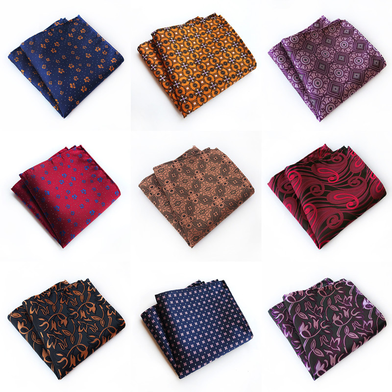CityRaider Brand Floral Pattern Navy Blue Red Burgundy Silk Handkerchiefs For Men Cotton Pocket Square Wholesale VIP Link C014