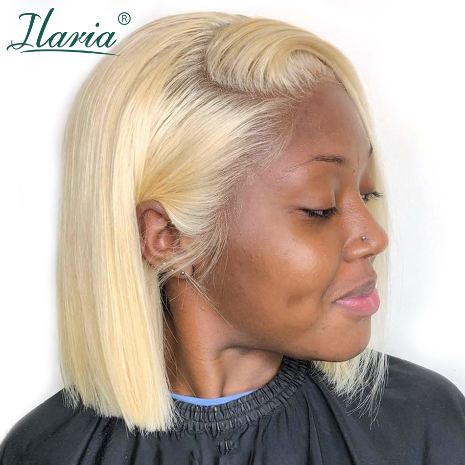 Blonde Lace Front Human Hair Wigs For Black Women Brazilian Remy 613 Short Bob Lace Frontal Wigs With Baby Hair Ilaria Hair image
