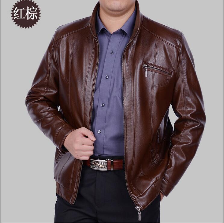 Free shipping Hot Mens Brand New high-grade Sheep skin band collar motorcycle Genuine leather jacket Sheep skin Men Coats 4XL