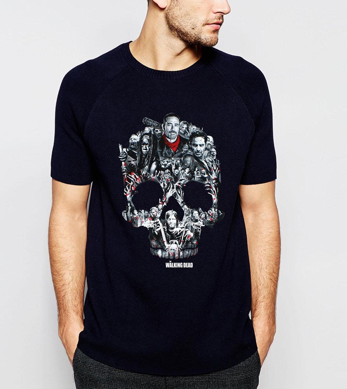 TV Show Skull The Walking Dead Mens Tshirt 2019 Summer Short Sleeve O-Neck Shirt 100% Cotton Men T-Shirt Brand Punk Tee Shirt