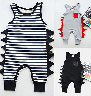 Cotton Newborn Baby Boy Sleeveless Dinosaurs Cotton Romper Jumpsuit Playsuit Outfit Clothes 0-24M  gentlemen style striped baby boy romper playsuit