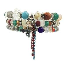 3pcs/set pop Vintage Bohemian Handmade bee cute animal Crystal Beads Bracelet Nature stone Bohe Woman bracelets Femme Band New