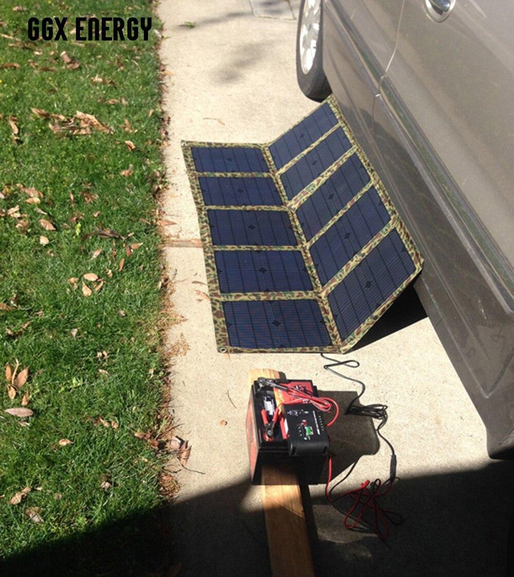 GGX ENERGY 100 Watt Portable Solar Array Solar Panel Charger Kit 12V for House Battery of VW Eurovan Camper/Weekender