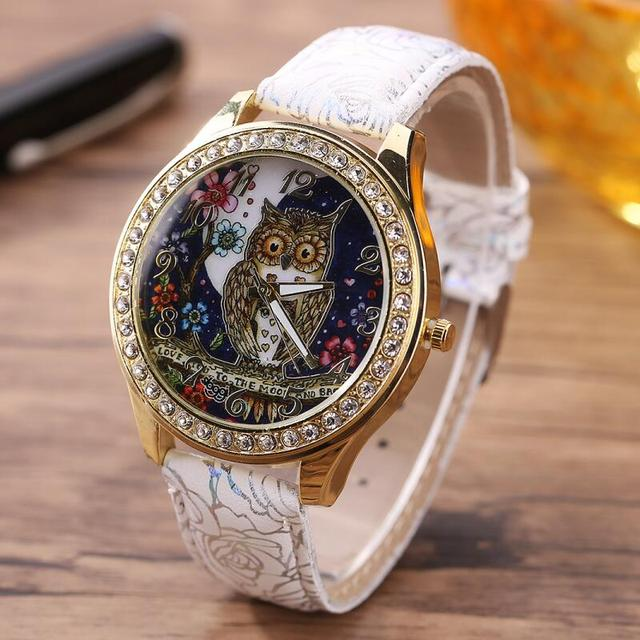 MINHIN Newest Design Cartoon Owl Ladies Watch Roses Pattern PU Leather Watches W
