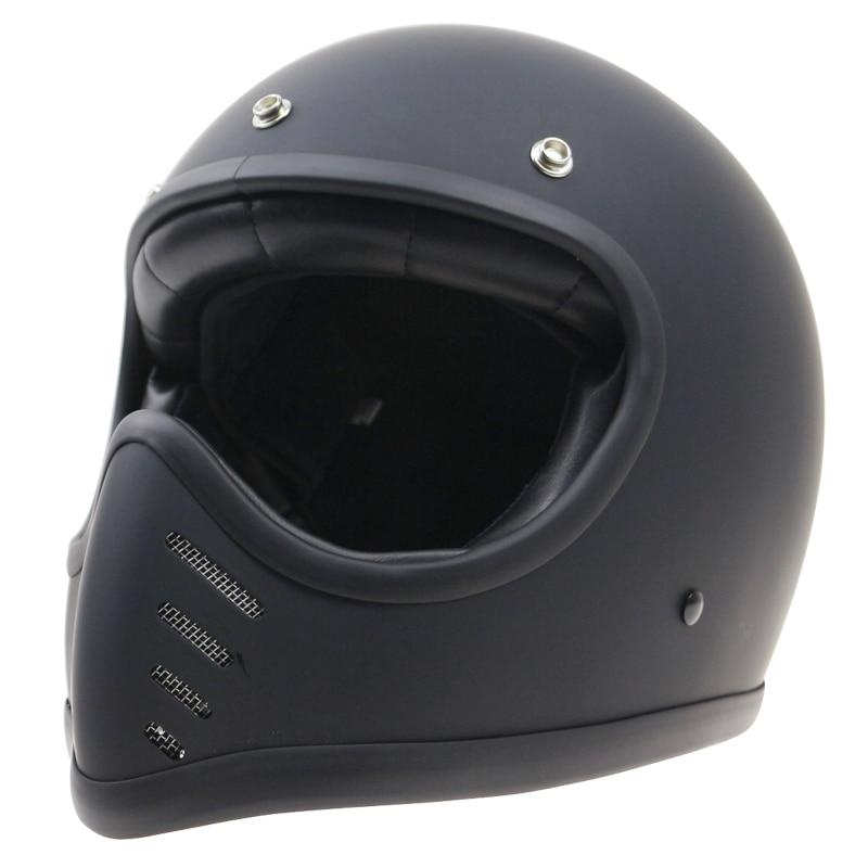 THH casque de moto rétro vieux Style de vélo casque intégral café racer casco peut s'adapter bouclier à bulles
