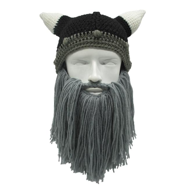 Men/Women Winter Crochet Viking Beanie Hat with Beard Handmade ...