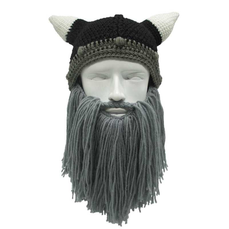 3f976b047fc0a Men Women Winter Crochet Viking Beanie Hat with Beard Handmade Costume  Cosplay Cap Photo Prop