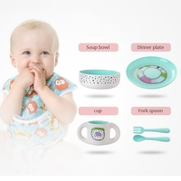 5Pcs/Set Baby Food Storage Tableware Toddle Cute Cartoon Dishes Cup Kids Plate Bowl Eco friendly Children Training Dinnerware