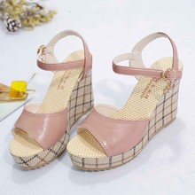 Women Ladies Summer Wedge Sandals Thick-Soled Sponge Cake Buckle High-Heeled Roman Shoes Casual Style For Footwear