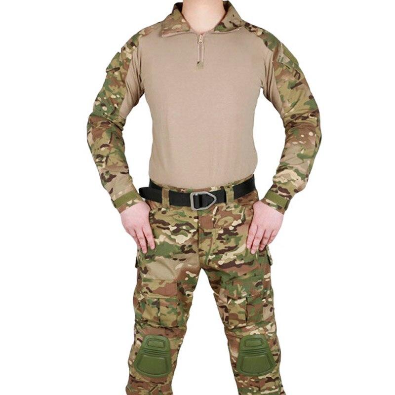 Uniforme militaire tactique Multicam armée Combat costume Camouflage Airsoft guerre jeu vêtements chemise + pantalon coudières genouillères