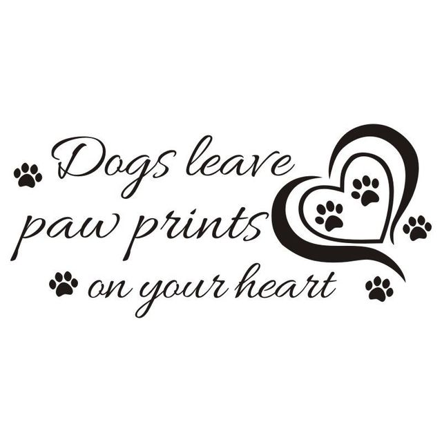 Hearts Wall Sticker Quotes Dogs Leave Paw Prints On Your Heart Vinyl