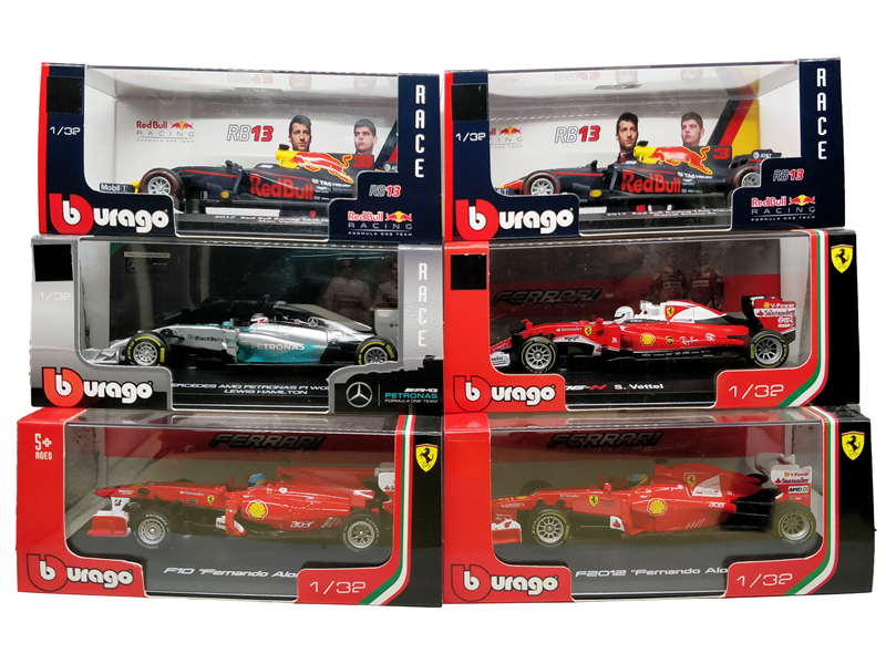 BBurago 1:32 F1 RedBull W07 SF16 RB13 Diecast Racing Model Car Toy Cars