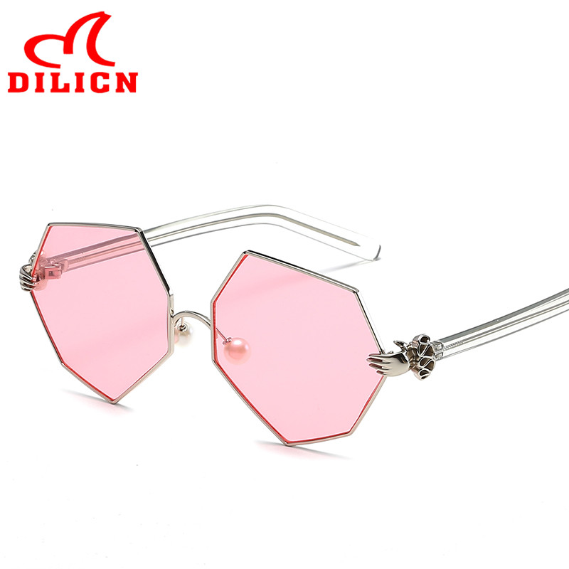DILICN Unique Pearls Hexagon Sunglasses Women Vintage Metal Frame Pink Lens Sun Glasses Ladies Summer Style