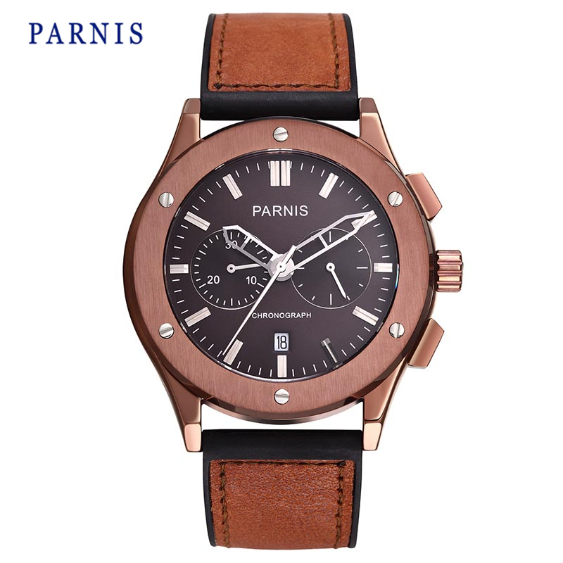 43mm Parnis Men s Watch Sapphire Crystal Coffee Dial with Silver Mark Chronograph Quartz Movement Wristwatch