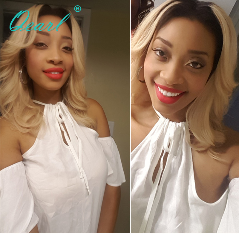 Qearl Hair 150% Lace Front Wig Ombre Color Blonde Wigs Natural Wavy lace wig Two Tone With Baby Hairs Brazilian Remy Hair Wig