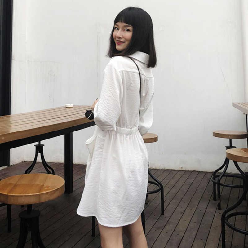TWOTWINSTYLE Ruched женская рубашка платье лоскутное V образным вырезом фонарь рукав туника Высокая талия мини платья женские осенние OL одежда