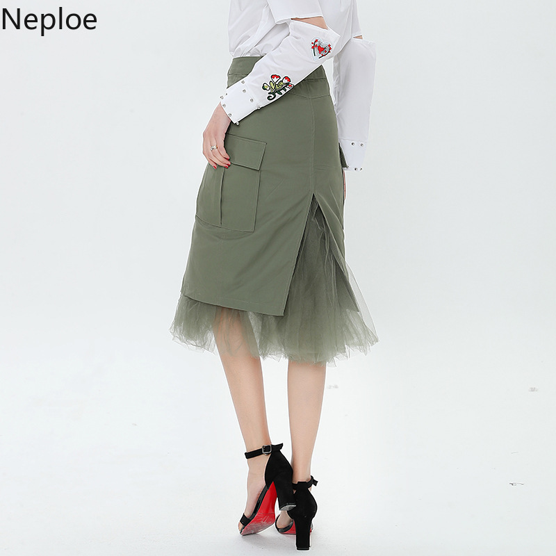 Neploe Split Mesh Patchwork Suede Skirt High Waist Slim Office Lady Bottom 2109 Spring Elegant Grace Women Fashion Skirt 42764