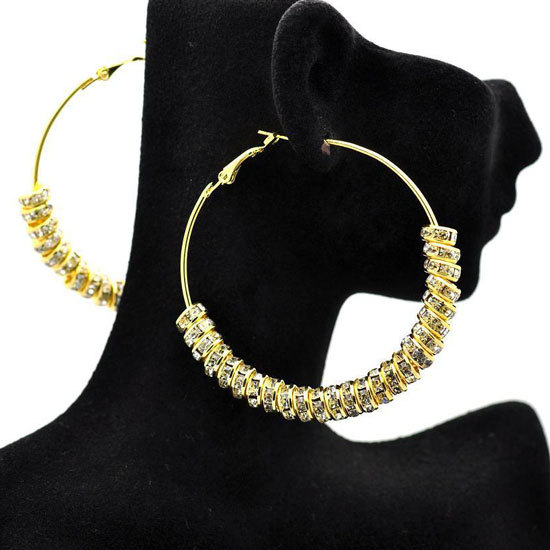 wholesale Gold Basketball Wives crystal Spacer Beads Wives Hoop Bling Earrings