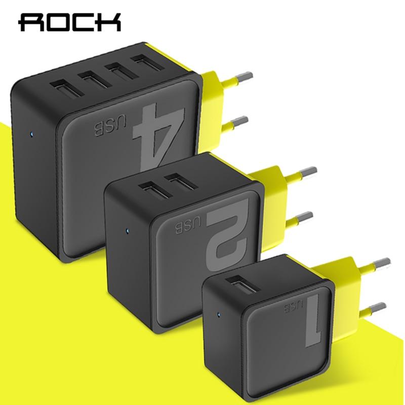ROCK Zucker 2 4 USB Wand Telefon Ladegerät 5 v 2.4A 4A Schnelle Reise Adapter Für iPhone Samsung EU Stecker telefon Dual USB Ladegerät
