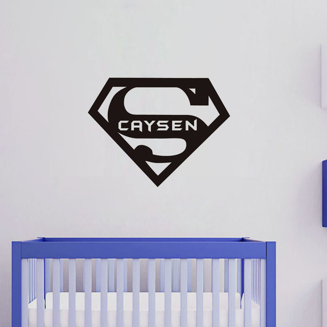 Any Name With Superhero Logo Kids Wall Sticker Home Decor