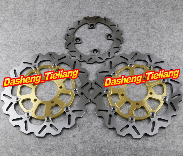 Arashi Front Rear Brake Disc Rotors Set For KAWASAKI 2008-2012 NINJA ZX10R ABS & 2007-2011 GTR1400 & 2006-2007 ZZR 1400 ABS Gold