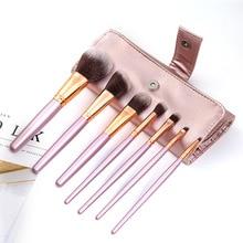 2019 New Arrival 7 pcs Synthetic Kabuki Makeup Brush Set Cosmetics Foundation blending blush makeup tool