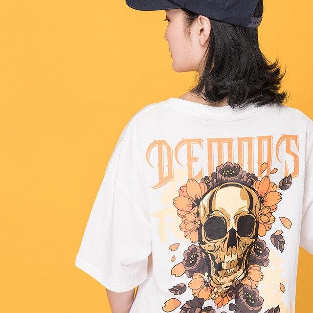 c03cfdebc Japanese Harajuku Women Streetwear Skull Printed Cotton T Shirt Urban Girl  Hip Hop Demons Graphic Tee Shirt Oversized