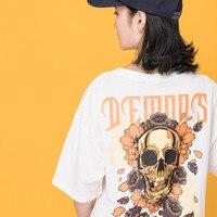 Japanese Harajuku Women Streetwear Skull Printed Cotton T Shirt Urban Girl Hip Hop Demons Graphic Tee Shirt Oversized