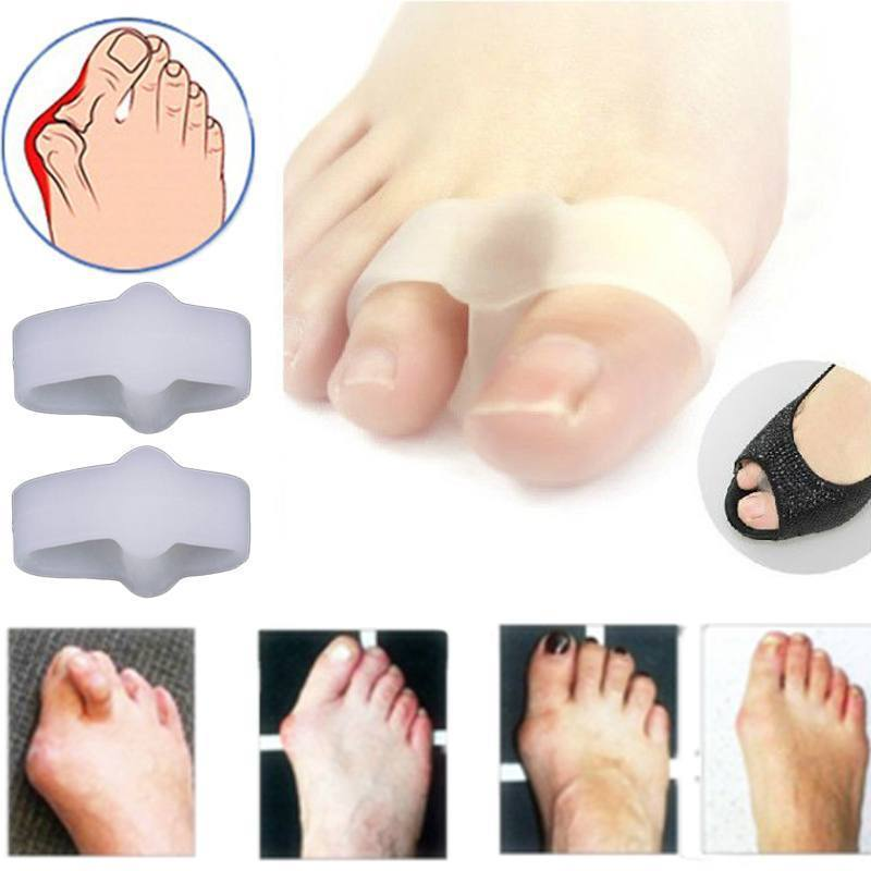 1Pairs 2 Holes Pain Relief Bunion Hallux Valgus Foot Toe Gel Separators Stretchers Straightener Feet Care Health Care Product 1pair free size toe straightener big toe spreader correction of hallux valgus pro toe corrector orthopedic foot pain relief