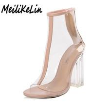 MeiliKeLin verano sandalias De Las Mujeres transparentes botas peep toe tacones altos zapatos de mujer tacones gruesos de Cristal sandalias de las señoras bombas