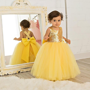 Image 5 - Floor length yellow tulle flower girl dress golden sequin top ball gown tutu open back baby toddler pageant birthday party dress