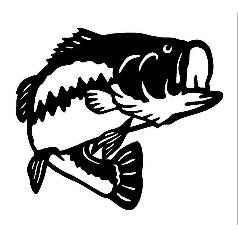 17 215 1cm sea bass fishing fun car sticker vinyl decals motorcycle accessories design black silver c2 0570 in car stickers from automobiles motorcycles