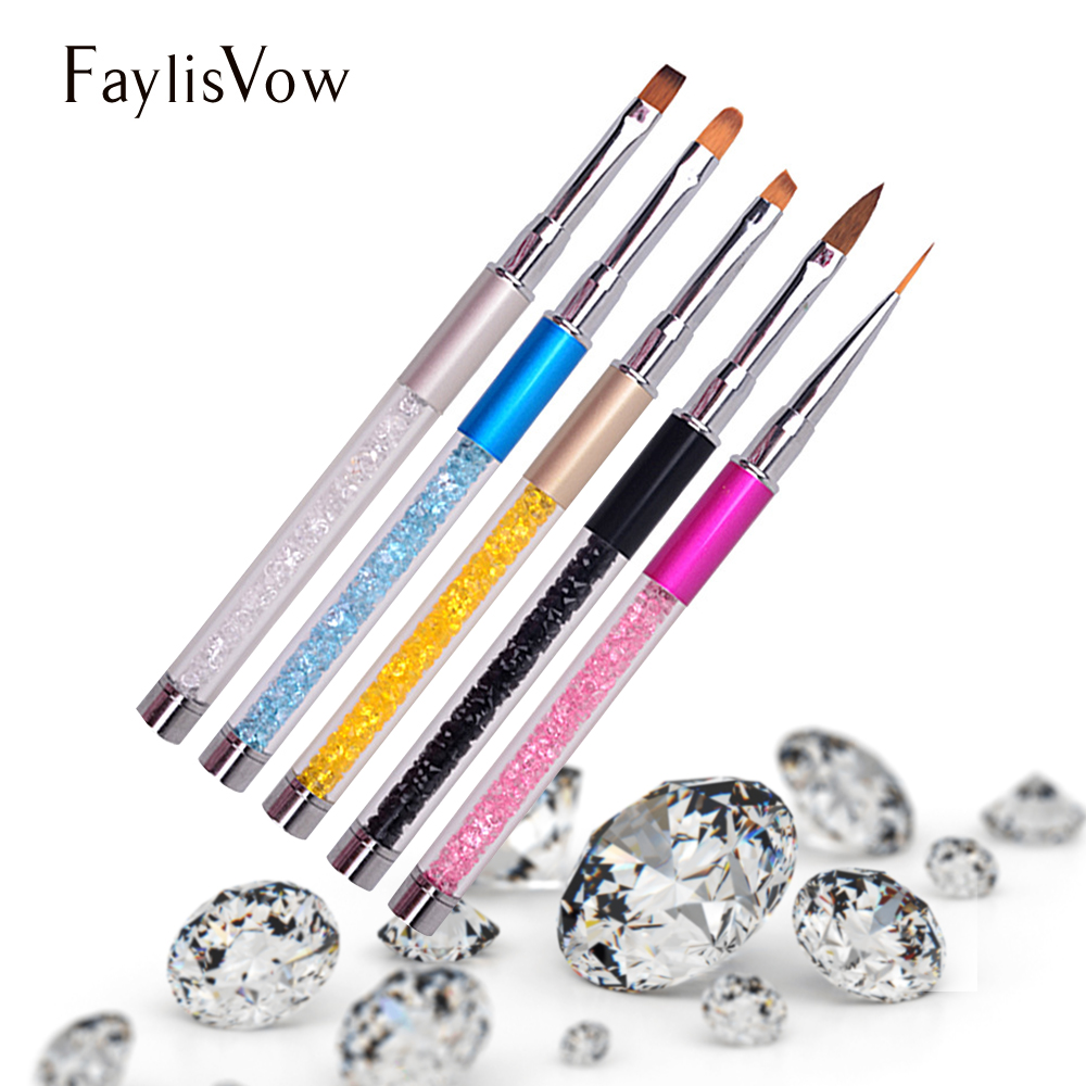 Manicure 3d Crystal Acrylic Nail Brush Diamond Gel Lacquer Carving Pen Nail Art Rhinestone Liner Powder Painting Brush cryatal clear color 1 5 20mm flat back round acrylic rhinestone acrylic resin 3d nail art garment rhinestone