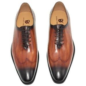 Image 2 - ของแท้หนังผู้ชายรองเท้าสำนักงานธุรกิจงานแต่งงานผสมสีหรูหราอย่างเป็นทางการ Brogue ชี้ Toe Oxfords รองเท้าบุรุษ