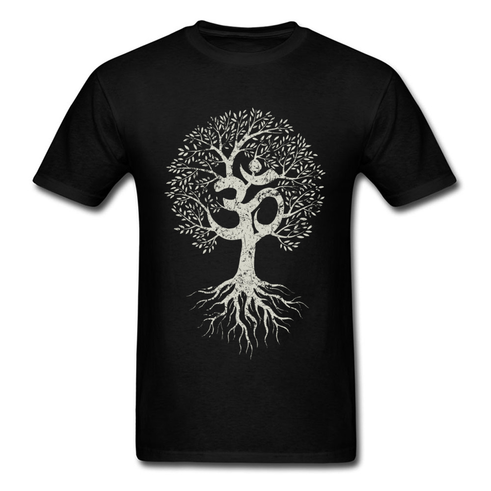 Vintage Om Tree Of Life Tops   T  -  Shirt   Youth   T     Shirts   Europe Men Tshirt Custom Tee   Shirt   Fitted 100% Cotton Clothes Black