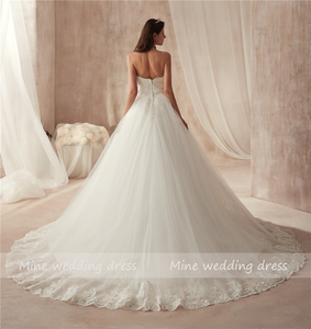 Image 3 - Ball Gown Strapless Tulle Wedding Dress Lace Fitted Bridal Dress with Court Train Wedding Gowns Vestido De Noiva 2021