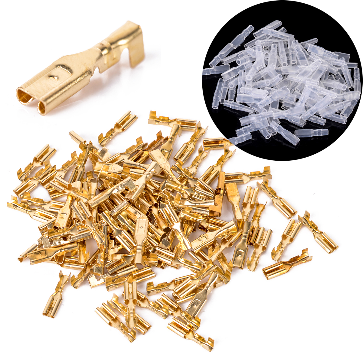 100Set Female Spade Connectors 2.8mm Brass Crimp Terminal 22-16AWG with Insulating Sleeve цена