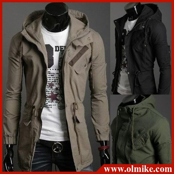 Free Shipping Men's Long Coat Blend Shoulder Trench Jacket ...