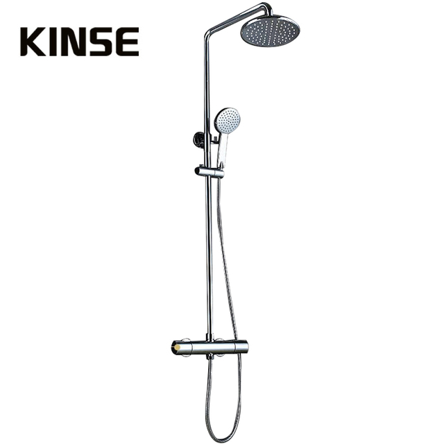 Brass Thermostatic Shower Mixers Water Shower Faucet Set With Slide Bar Handshower Bathroom Rainfall 8 inch Shower Head Chrome